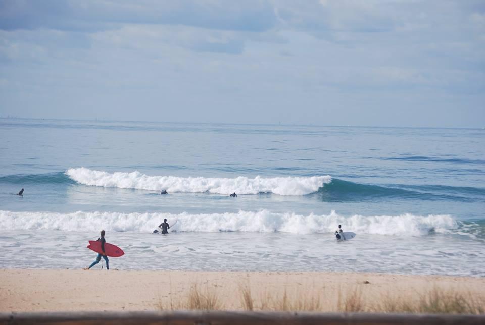 Olas en el curso de surf en el palmar en verano
